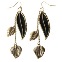 LOVEsick Burnished Gold Tone Leaf Drop Earrings