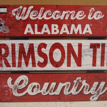 """ALABAMA CRIMSON TIDE WELCOME TO CRIMSON TIDE COUNTRY WOOD SIGN 19""""X30'' WINCRAFT"""