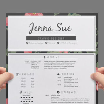 Resume template , cover letter template , reference letter template (floral chic theme).