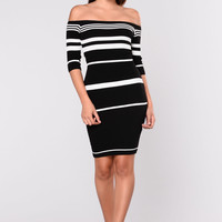 Shora Striped Dress - Black/ White
