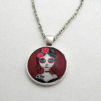 Sugar Skull Girl Necklace - Sugar Skull Girl Pendant - Cabochon Jewelry - Sugar Skull Girl Jewelry - Punk Jewlery - Goth Girl - Alternative
