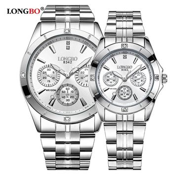 LONGBO Military Sports Unique Design Couple Stainless Steel Band Quartz Watches Men Male Leisure Watch Relogio Masculino 8342