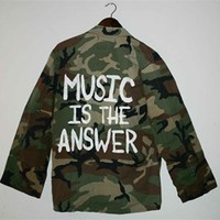 MUSIC IS THE ANSWER Vintage Army Camo Jacket/Shirt