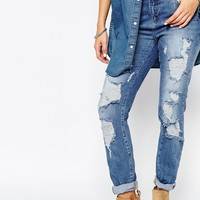 Noisy May Petite Kim Loose Boyfriend Jean With Destroyed Detail