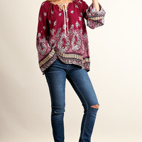 Fall Garden Boho Top - Wine