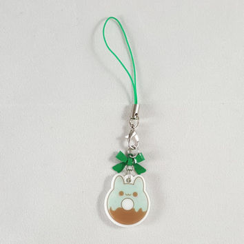 Bunny, rabbit, donut, food, dessert, phone charm, cute, kawaii, anime, zipper charm, keychain, acrylic charm, green