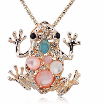 Frog shape Long Chain Animal Pendant Necklace