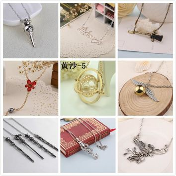 Harry Potter Necklace Time Turner Hourglass Hogwarts School Badge Deathly Hallows Magic Wand Aways Angel Wing Snitch Necklace
