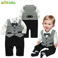 baby boy gentleman modelling suit long-sleeved
