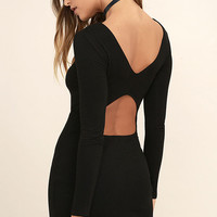RVCA Fallen Black Long Sleeve Bodycon Dress