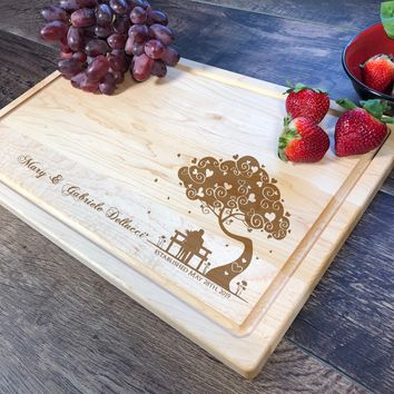 Custom Name Cutting Board. Anniversary Gift. Bridal Shower Gift. Personalized Cutting Board. Housewarming Gift. #11