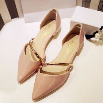 Metal Pointed Toe Strappy Korean Style Pure Color Flat Slip On Shoes