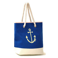 Preppy Shoulder Bag Nautical Anchor Tote