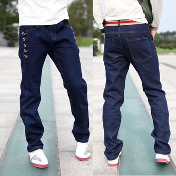 Mens Cool Baggy Straight Jeans