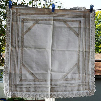 1960s Hand Made 100 Percent Cotton Centerpiece Cloth with Delicate Soft Eyelet Lace Edge/White Hand Made Table Centerpiece Cloth