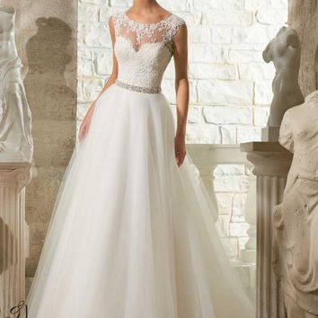 Blu by Mori Lee 5315 Lace Tulle Ball Gown Wedding Dress