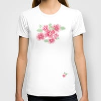 Summer Blossoms Diagonal Stripes T-shirt by Lisa Argyropoulos
