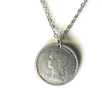 Coin Necklace France Francaise 1 Franc 1964 Upcycled Pendant Vintage Jewelry by Hendywood