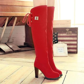 Suede High Heels Tall Boots for Women 1376