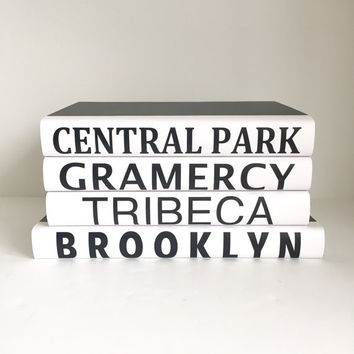 New York Villages Books, Subway Sign, New York Decor, Central Park Books, Black Books, Quote Books, Housewarming Gift, New York Wedding