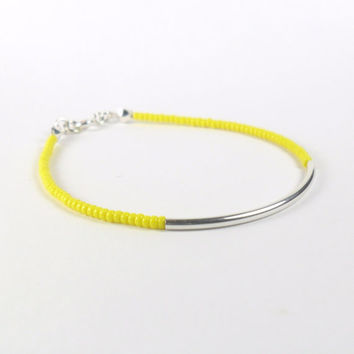 Neon Bright Yellow Seed Bead Stacking Friendship Bracelet with Sterling Silver Tube Minimalist Jewellery