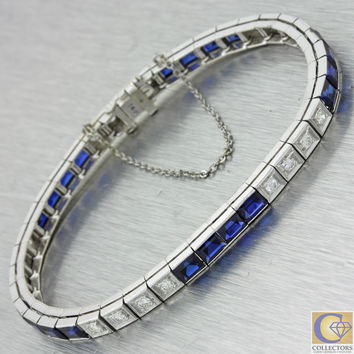 1930s Antique Art Deco 14k Solid White Gold 6.60ctw Diamond Sapphire Bracelet