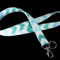Fabric Lanyard - ID Badge and Key Ring - Chevron Stripes Teal and Aqua - Breakaway Lanyard Option
