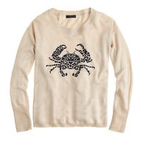 J.Crew Womens Linen Embroidered Crab Sweater
