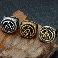 Round Rose Croix Freemasonry Ring [Multiple Colors]