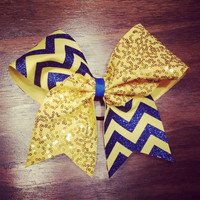 yellow gold sequins and royal blue glitter chevron