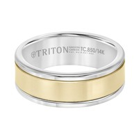 Tungsten Carbide and 14K Yellow Gold 8mm Wide Mens 3-Band Style Wedding Ring