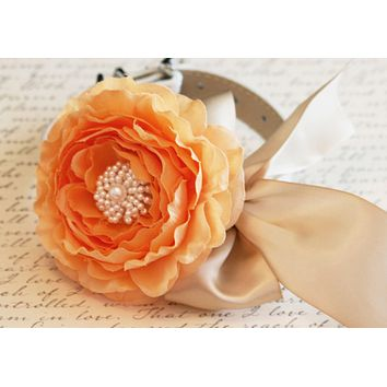 Pastel Peony Orange Floral Dog Collar, Pet Wedding Accessory