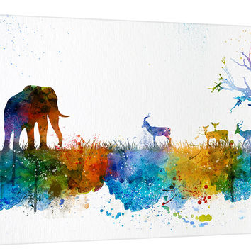 Wall Art, Art Print, Watercolor African Tree Canvas  Print - Elephant Wall Art Canvas Print - Antelope Skyline Silhouettes Watercolor