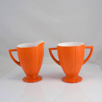 Creamer Sugar Fiesta Orange Newport Hairpin Platonite  - Art Deco Style - Vintage 1940s Hazel Atlas