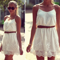2014 New summer white flower cute lace dress = 1901200452