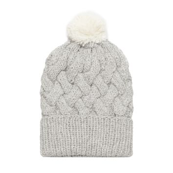 Grey Pom Pom Cable Knit Beanie