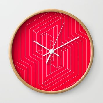 Modern minimal Line Art / Geometric Optical Illusion - Red Version Wall Clock by Badbugs_art