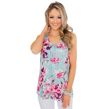 Cute Sky Blue Floral Summer Tank Top
