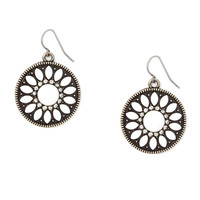 Antique Silver and White Enamel Medallion Drop Earrings