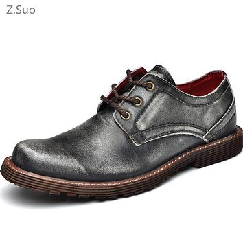 Vintage Genuine Leather Men Oxfords For Men Dress Shoes Formal Men Working High Quality Brown Gray