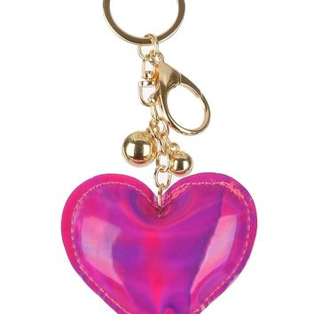 Holographic Iridescent Heart Stuffed Pillow Key Chain