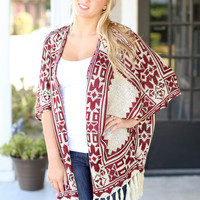 Northern Lights Poncho - Maroon