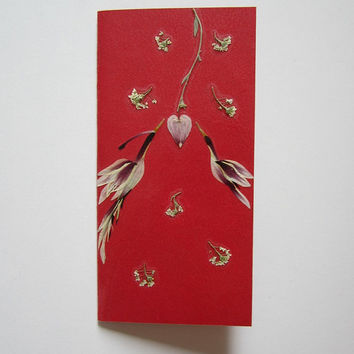 "Handmade unique greeting card ""The magnetic force of the heart"" - Decorated with dried pressed flowers and herbs - Original art collage."