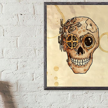 "Printable Wall art Poster /  steampunk skull / 8""x10"" Instant Download print for home Decor TheLabelBoutique digital artwork"