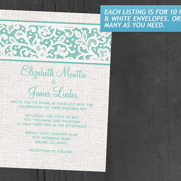 Aqua Rustic Country Burlap & Linen Wedding Invitations | Invites | Invitation Cards