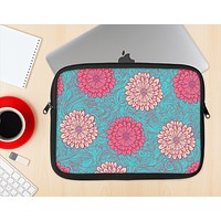 The Pink & Blue Floral Illustration Ink-Fuzed NeoPrene MacBook Laptop Sleeve