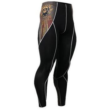 Men's Compression Pants Gold with Skull