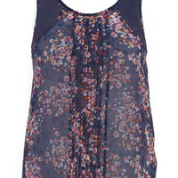 Plus Size - Pleated Front Floral Print Chiffon Tank - Blue Jasmine Combo