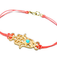 Gold Hamsa hand of fatima Knotted Friendship Bracelets - gold hamsa turquoise coral colored cord