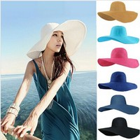 Summer Women's Ladies' Foldable Wide Large Brim Floppy Beach Hat Sun Straw Hat Cap